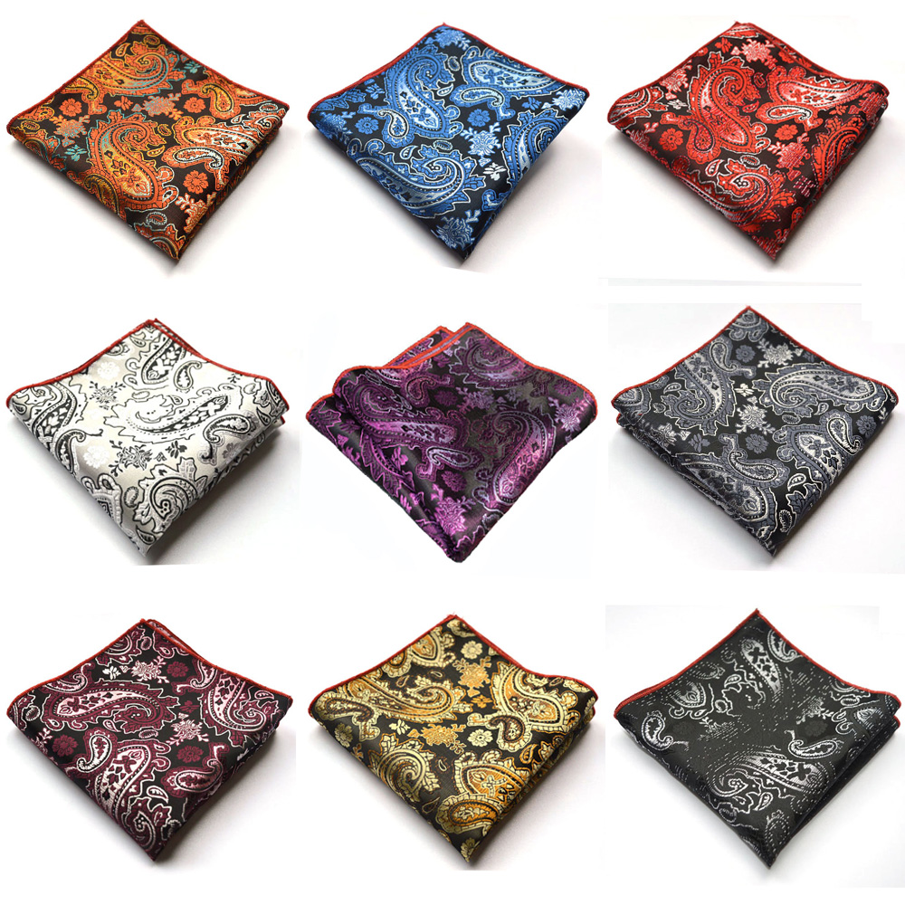 Men Paisley Floral Jacquard Handkerchief Hanky Party Accessories Pocket Square BWTYX0329