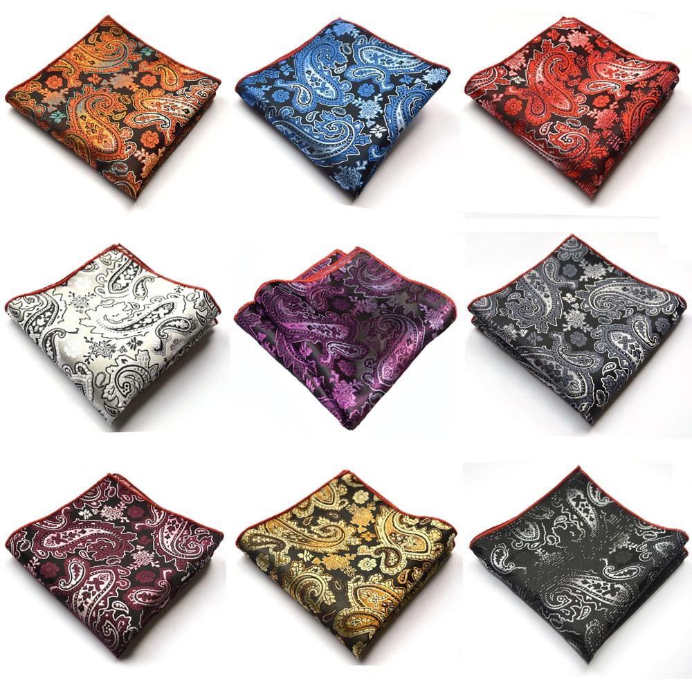 Men Paisley Floral Jacquard Handkerchief Hanky Party Accessories Pocket Square BWTYX0329