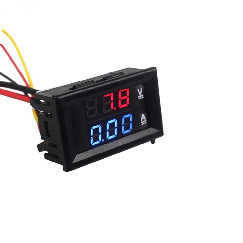 """DC 100V 10A Mini Digital Voltmeter Ammeter Panel Amp Volt Voltage Current Meter Tester 0.56"""" Blue + Red Dual LED Display"""