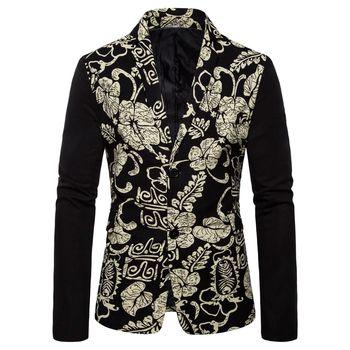Men Floral Printed Blazers Jacket 2019 New Fashion Casual Men Suit Jackets Autumn Winter Oversize Ethnic Printed Men Suit Coat фото