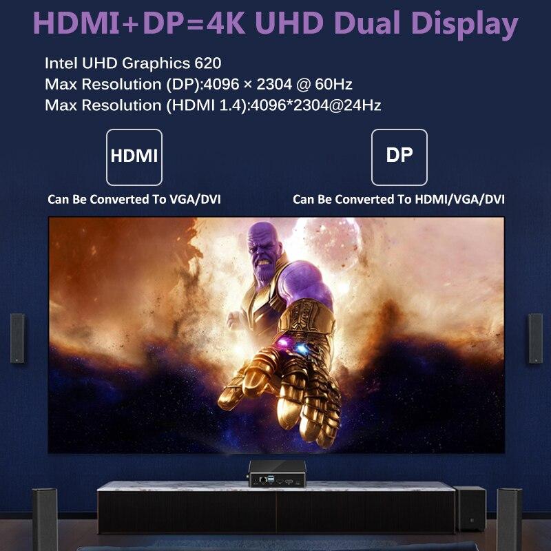 Image 2 - Mini PC 8th Gen Intel Core i7 8565U i5 8265U CPU 2*DDR4 M.2SSD HDMI DP 4K 60fps 6*USB Type C WiFi Window 10 HTPC Computer NettopMini PC   -