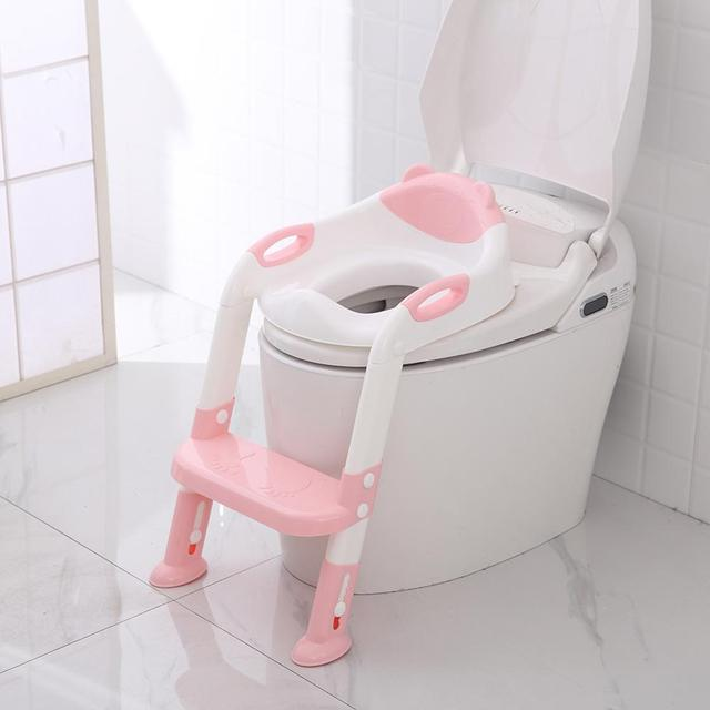2 Colors Baby Toilet Seat Baby Potty Training Seat With Adjustable Ladder Infant Toilet Training Folding Seats Children's Potty | Happy Baby Mama