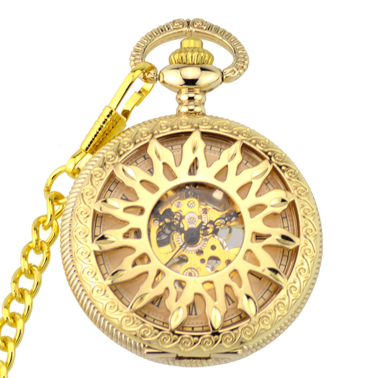 2019 Full God Steampunk Skeleton Mechanical Pocket Watches Men Antique Watches Luxury Brand Hand Wind Pocket & Fob Watch Chain