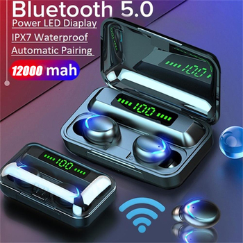 Portable Mini LED Display wireless bluetooth headphones 5 0 2200mah charging box with microphone sport