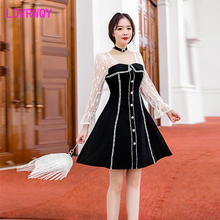 2019 autumn Japanese style new bud silk yarn stitching slim temperament dress Knee-Length  Patchwork Sheath Casual