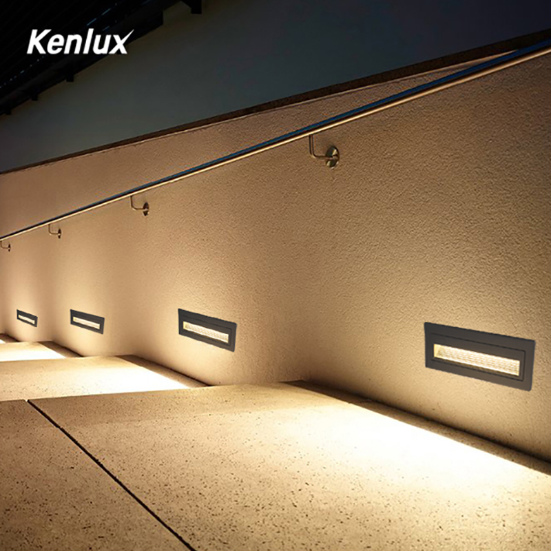 Kenlux Led merdiven lambası adım ışıkları 6W SMD 210*60mm AC85-265V alüminyum açık kapalı su geçirmez gömülü merdiven duvar lambası