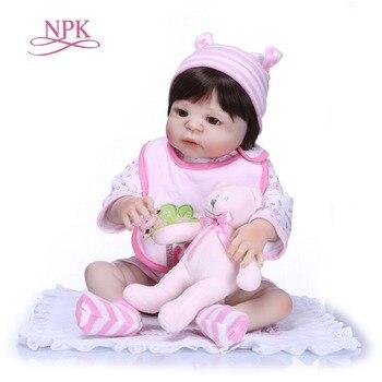 NPK 57CM Handmade Full Silicone vinyl Body adorable Lifelike toddler Baby Bonecas girl kid bebe doll reborn menina de silicone