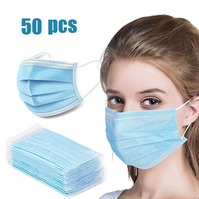 50pcs in stock,Disposable Thickened Masks,Disposable Earloops faceMasks ,3-Ply High Quality,Breathable Flu Hygiene Face Mask 2