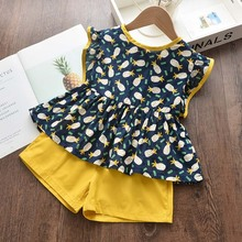 Children's Sets 2020 New Summer Girls Fruits Print Clothing Fashion Pineapple T-Shirt and Pants Cute Kids Sweet Girl Outfit 2 6Y майка print bar summer fruits