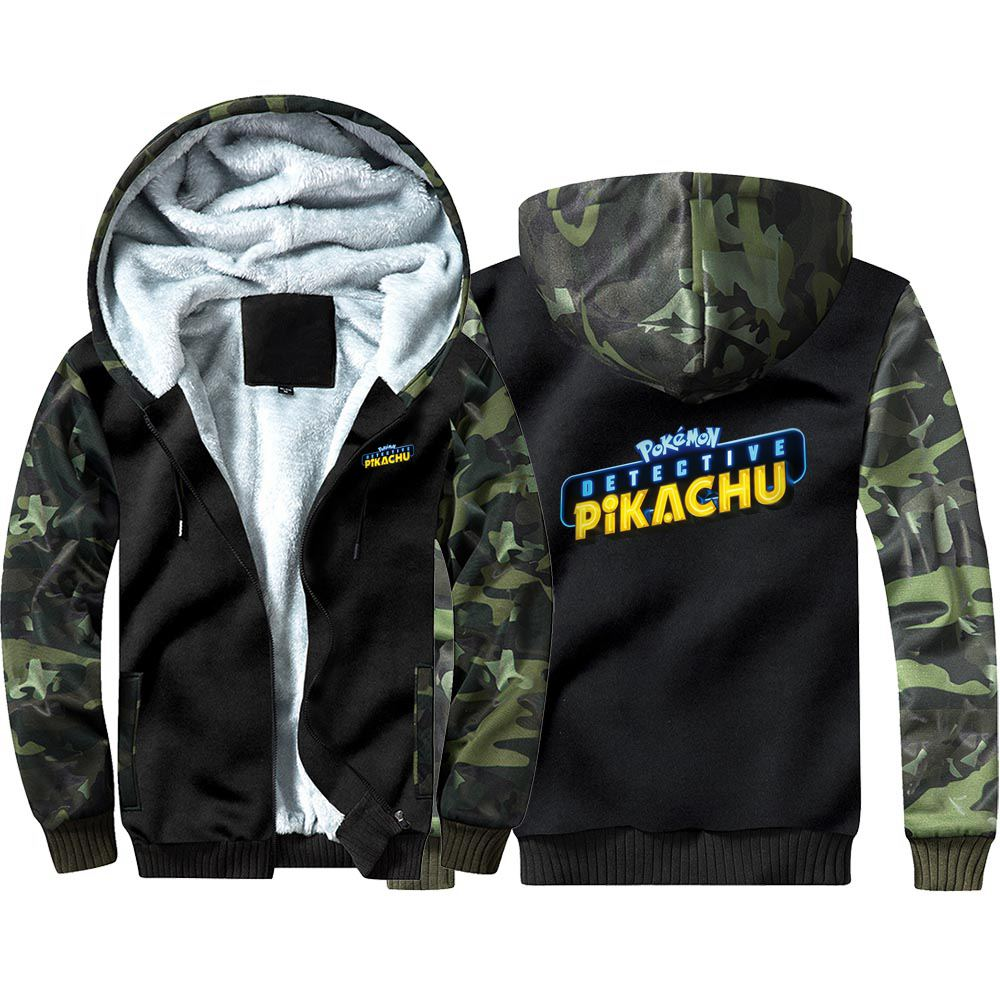 New Pokémon Detective Pikachu Camouflage Hoodie Sweatshirts Winter Thicken Hooded Coat Cosplay Costume Warm Men Women Clothing