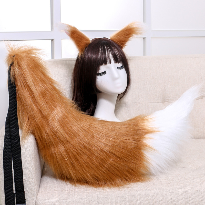 Anime Cosplay Props Spice and Wolf Holo Fox Ears and Tail Set Plush Furry Neko Cat Ears Tails Carnival Party Costume Fancy Dress(China)