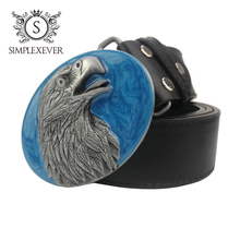 Cowboy Eagle Belt Buckle with Blue Coating  Mens Head PU As Gift