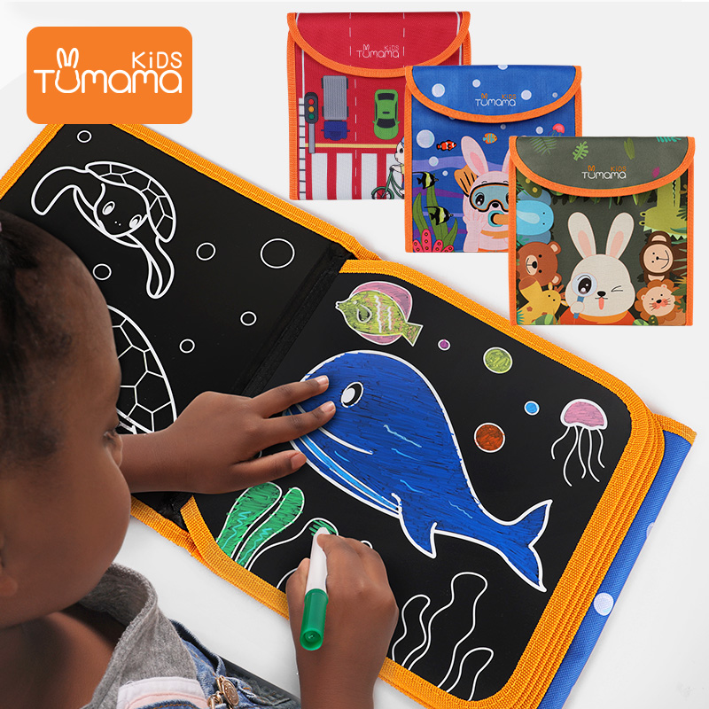 Tumama  Drawing Board Book Animal Traffic  Coloring Books For Kids DIY Blackboard Painting Drawing Board  With Water Pen