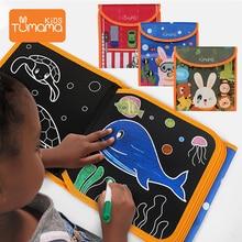 лучшая цена Tumama  Drawing Board Book Animal Traffic  Coloring Books For Kids DIY Blackboard Painting Drawing Board  With Water Pen