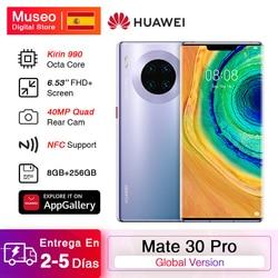Глобальная версия HUAWEI Mate 30 Pro мобильных телефонов Kirin 990 8 Гб 256 6,53 ''40MP тройной камеры смартфона 4500 мА/ч, 40 Вт Супер заряда