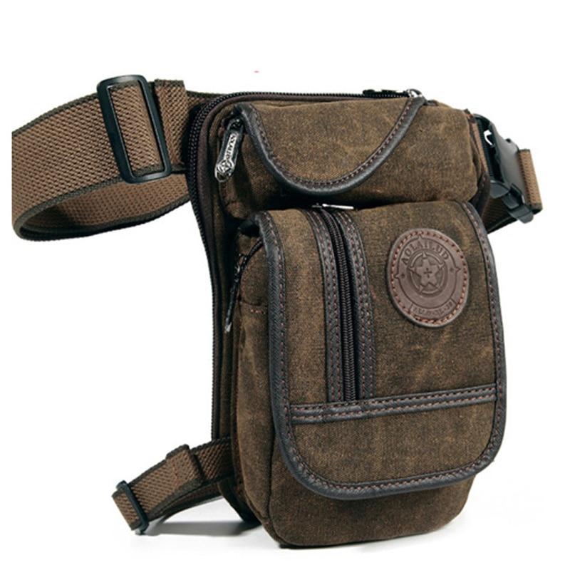 Men's Canvas Drop Leg Bag Military Motorcycle Multi-purpose Messenger Shoulder Bags High Quality Belt Hip Bum Waist Fanny Pack