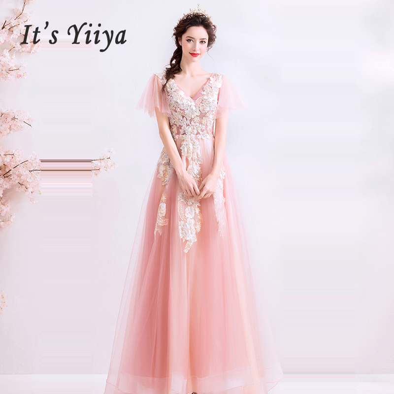 It's Yiiya Evening Dress Short Sleeve Women Party Dresses Embroidery Robe De Soiree 2019 Plus Size Lace V-neck Formal Gowns E649