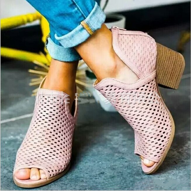 Women sandals 2021 fashion fish mouth women shoes high heels shoes woman casual breathable hollow zipper summer sandals women