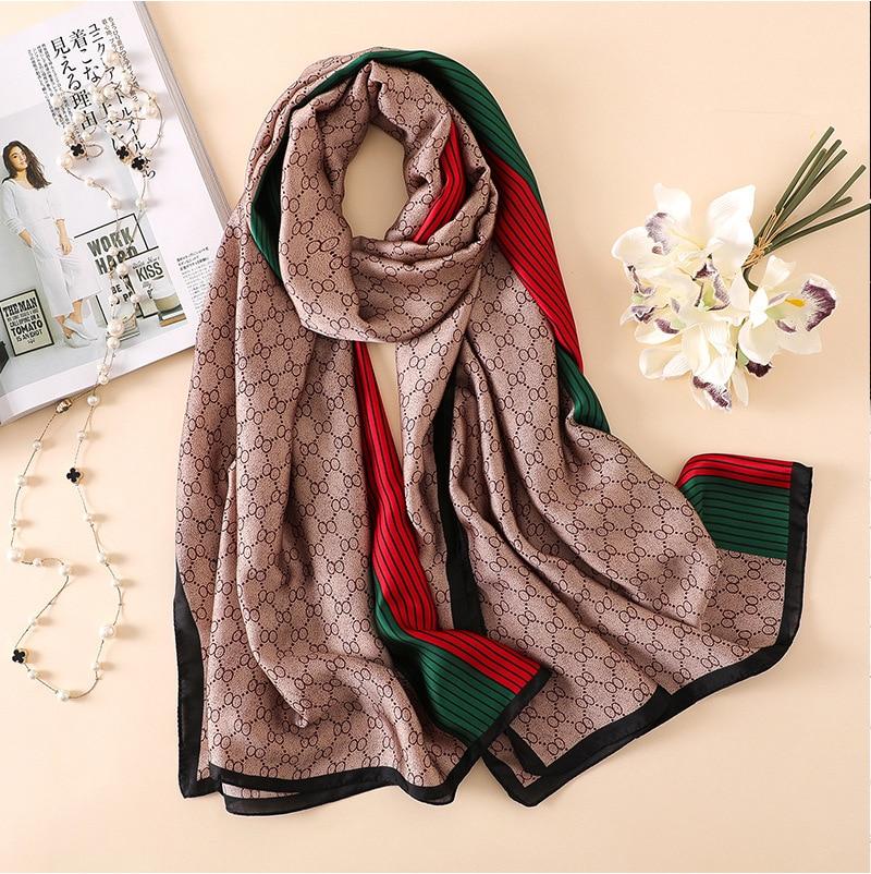 Brand Designer Silk Scarf High Quality Foulard Bandana Long Lrage Shawls Wrpas Winter Neck Scarves Pashmina Lady Hijab 2020 New(China)
