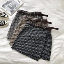 Plaid Skirt A-Line Irregular Chic Female Vintage Autumn Sweet High-Waist Korean Casual