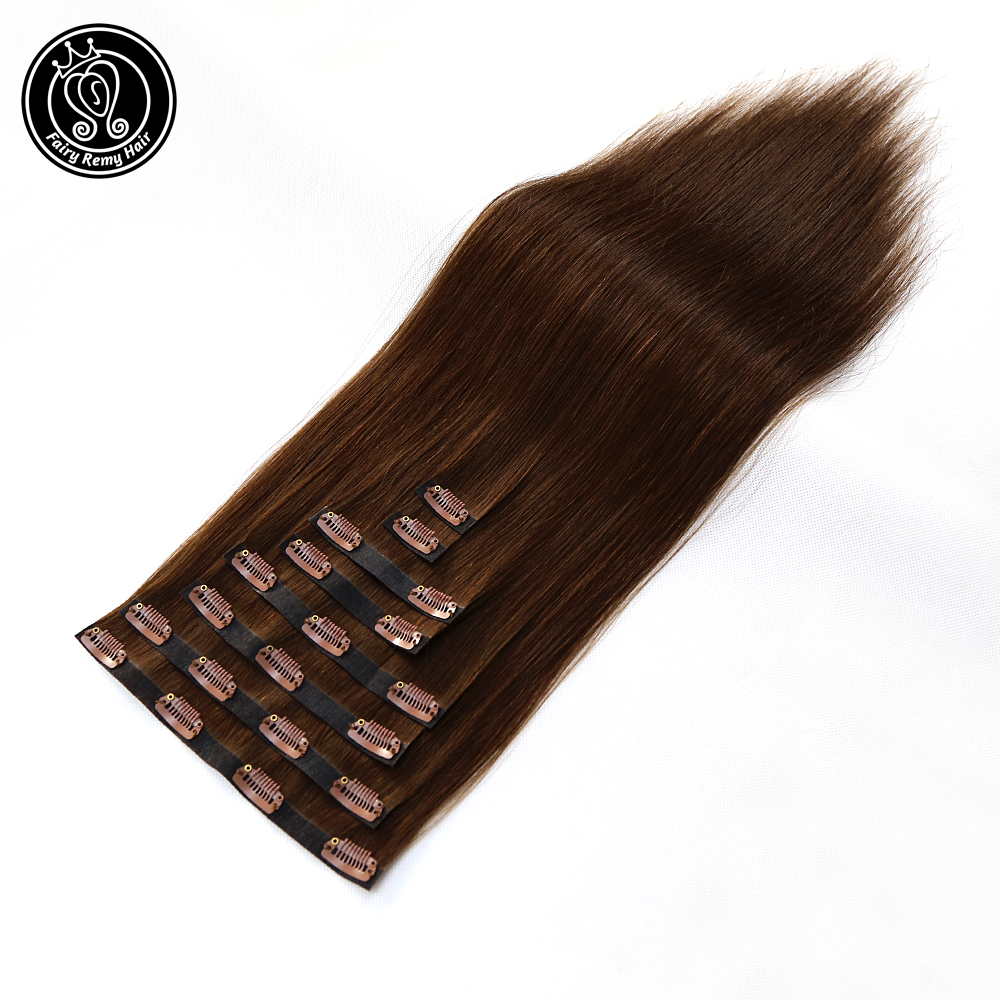 Clip In PU Skin Weft Hair Extensions Straight 100% Real Remy Human Hair Clips In Dark Brown Color 18