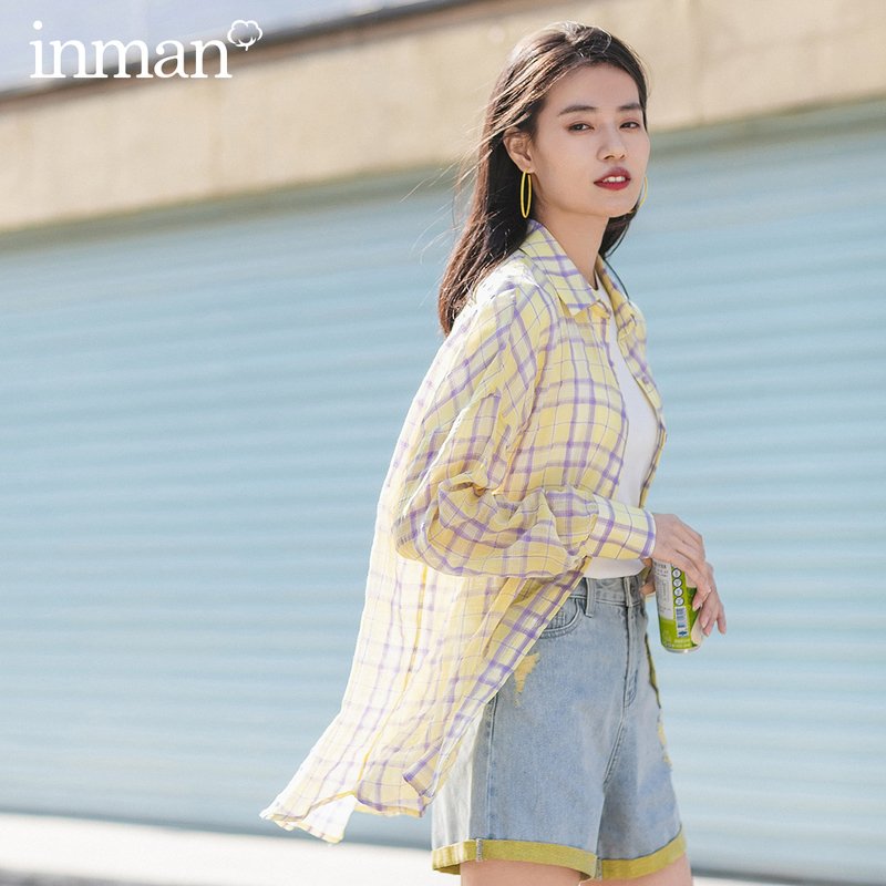 INMAN 2020 Summer New Arrival Girlish Pure Cotton Plaid Literary Vitality Long Sleeve Blouse