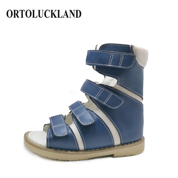 Little Toddler Boys Cool High-top Corrective Orthopedic Outwear Shoes Blue Genuine Leather Sandals for Spring Summer