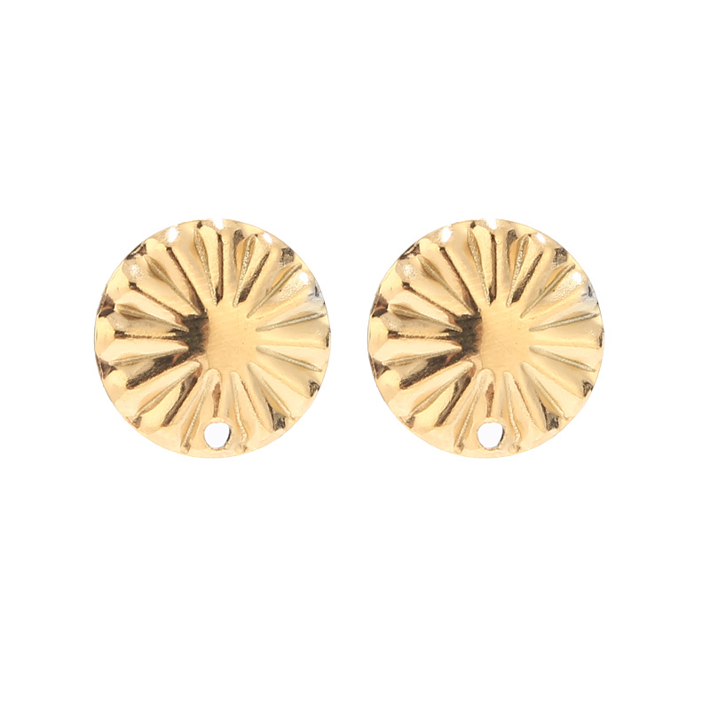 10pcs  Circle Round Stud Earring Posts With Loop Stainless Steel Hypoallergenic Gold Earrings Components For Earring Making