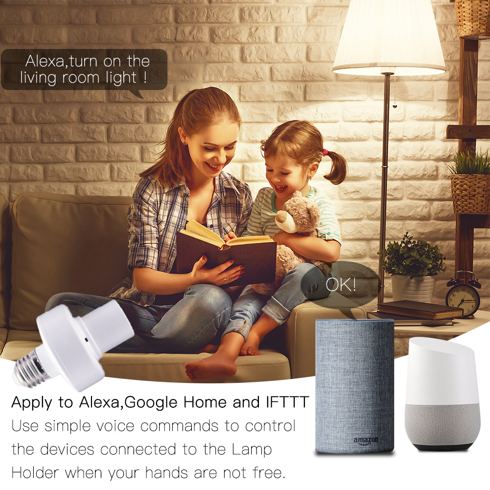 WiFi Smart Light Bulb Adapter Lamp Holder Base AC Smart Life//Tuya Wireless Voice