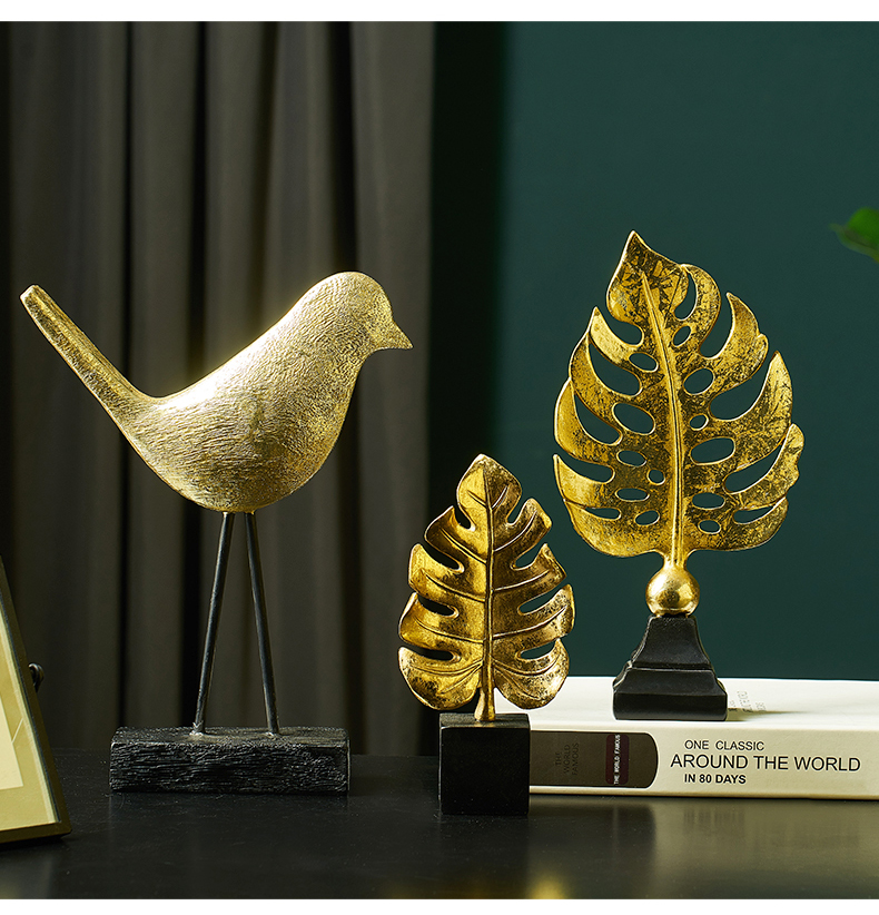 Nordic Home Decoration Accessories Modern Miniature Figurines Desk Decoration Living Room Decoration Leaf Feather Model Bauble