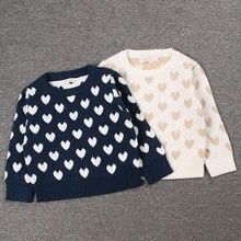 INS/модный осенний Детский свитер одежда с длинными рукавами и принтом «любовь» для мальчиков и девочек детский хлопковый трикотажный двухслойный Топ От 1 до 7 лет