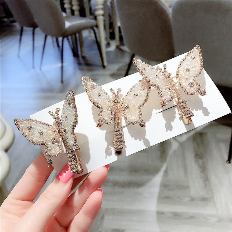 Korea Style New Hair Pins Cute Pretty Butterfly Rhinestone Duckbill Clip For Girl Women Fashion Hair Accessories