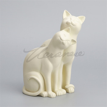 Creative Couples Cats Art Sculpture Cats Figurine Animal Statue Resin Crafts Home Decoration Birthday Gift R5038
