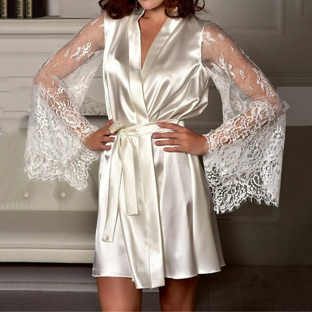 New Sexy Lingerie Silk Lace Black Kimono Intimate Sleepwear Robe Night Gown Loose Female Bathrobes M-XL