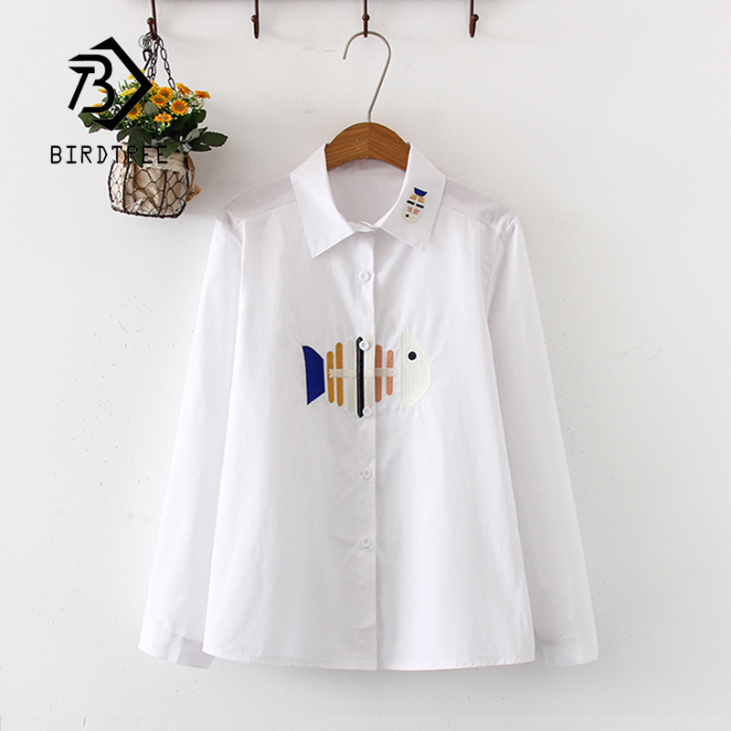 New Arrival Fish Bone Embroidery Cute Cotton White Shirt Turn-down Collar Full Sleeve Pockets Casual Blouse Feminina Blusa T9949