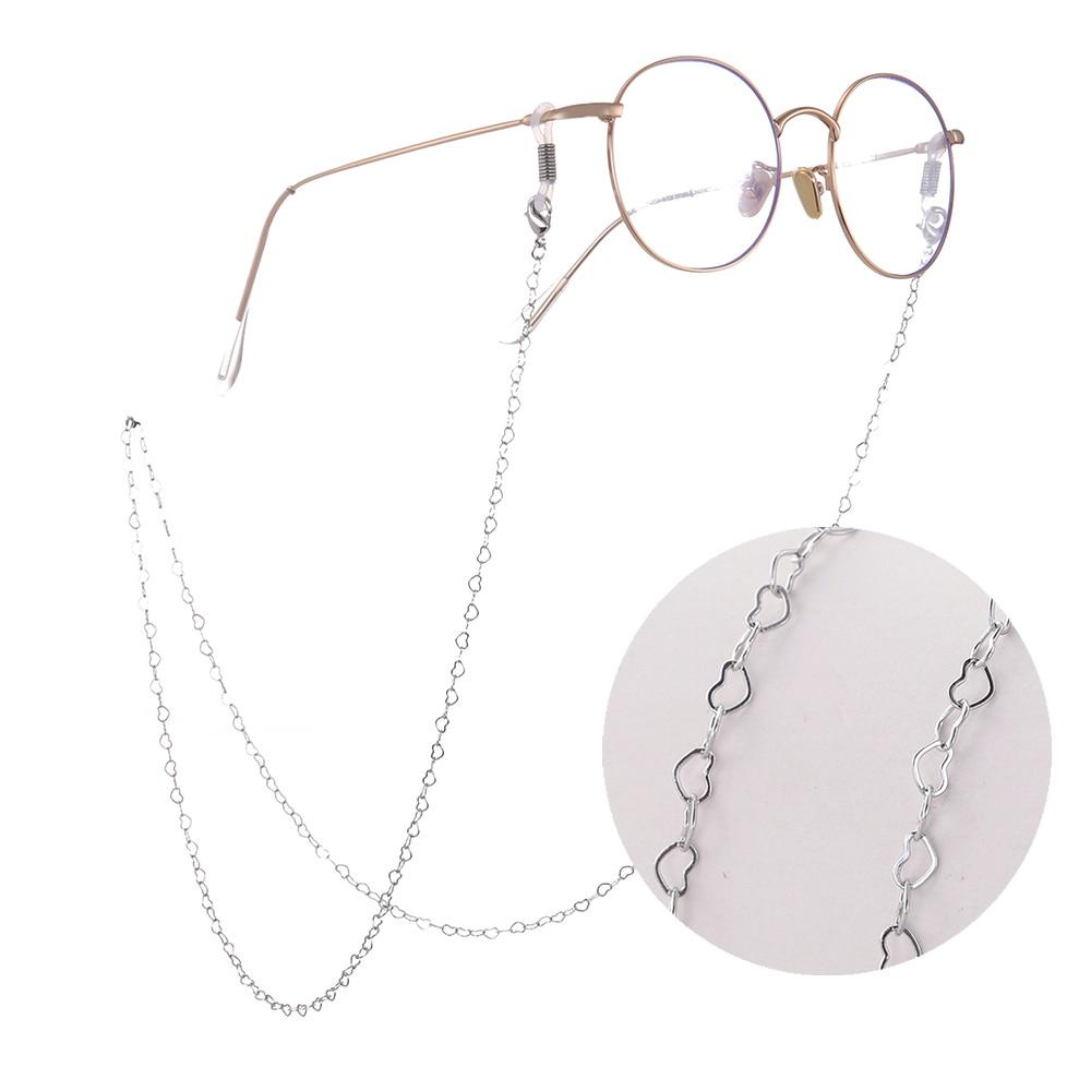 SKYRIM Heart Glasses Chain Cord Holder Neck Strap Rope Eyeglasses Gold Color Silvery Lanyard For Women Reading Glass Sunglasses