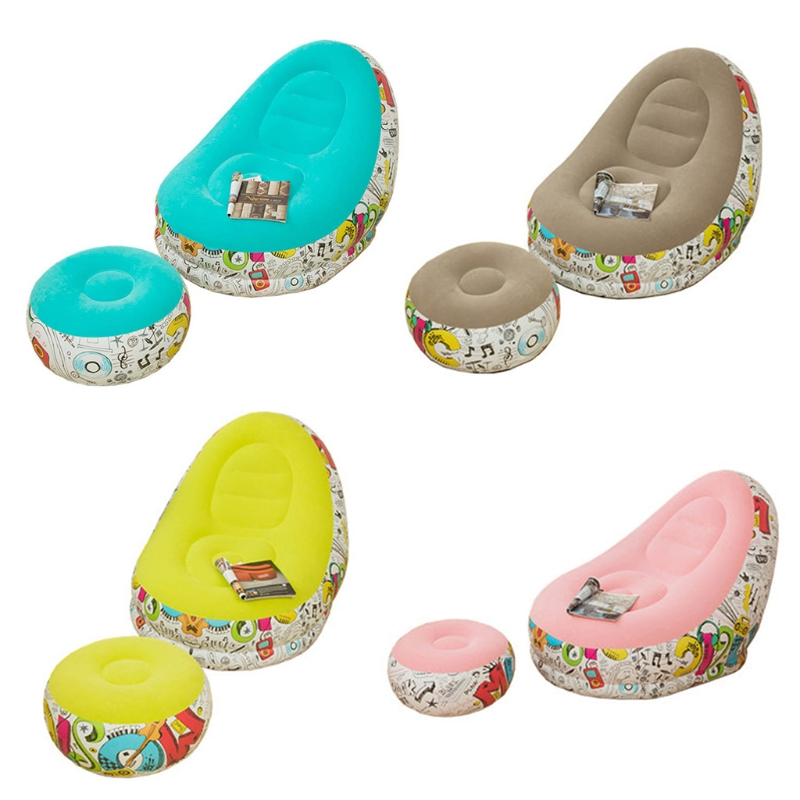 Graffiti Style Lazy Inflatable Sofa with Pedal Combination Inflatable Lounger Recliner Portable Office Nap Sofa Outdoor Home Lei