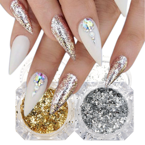1pcs Holographic Nail Glitter Powder Dust Gold Silver Irregular Flakes Foil Sequins for Nail Art Decoration Manicure BECB01/02
