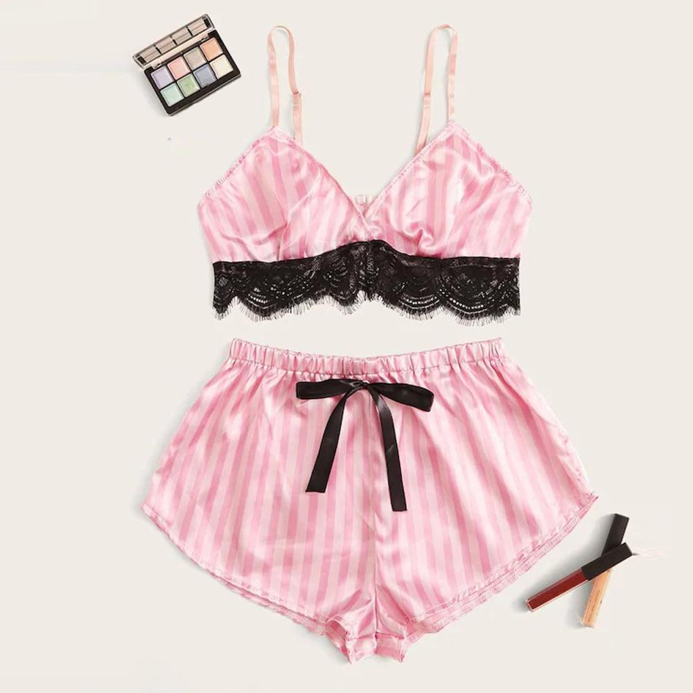 Sexy Women Lace Satin Sleepwear Set Fashion Solid Wireless Camisole Bowknot Shorts Pajamas Set Conjunto Cueca 2019 Hot Sale 1