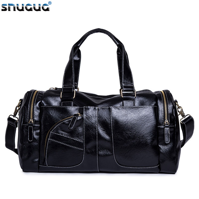 PU Leather Fitness Bags Luxury Duffle Bag Big Travel Bags Hand Luggage Bolsa Sac De Sport Outdoor Training Men's Travelling Bag
