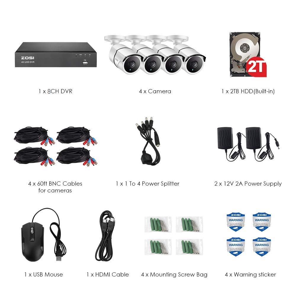 Image 2 - ZOSI 4K Super HD Video Surveillance System 8 Channel H.265+ DVR with 2TB HDD and 4 x 4K(8MP) Ip67 Bullet Weatherproof Cameras-in Surveillance System from Security & Protection