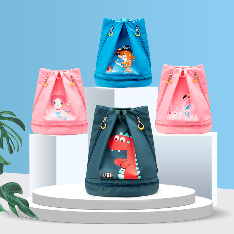 Kids Swimming Bag Waterproof Backpack Sports Bags Boys Girls Beach Bag Combo Dry Wet Bags For Swimsuit Pool Beach Outdoor
