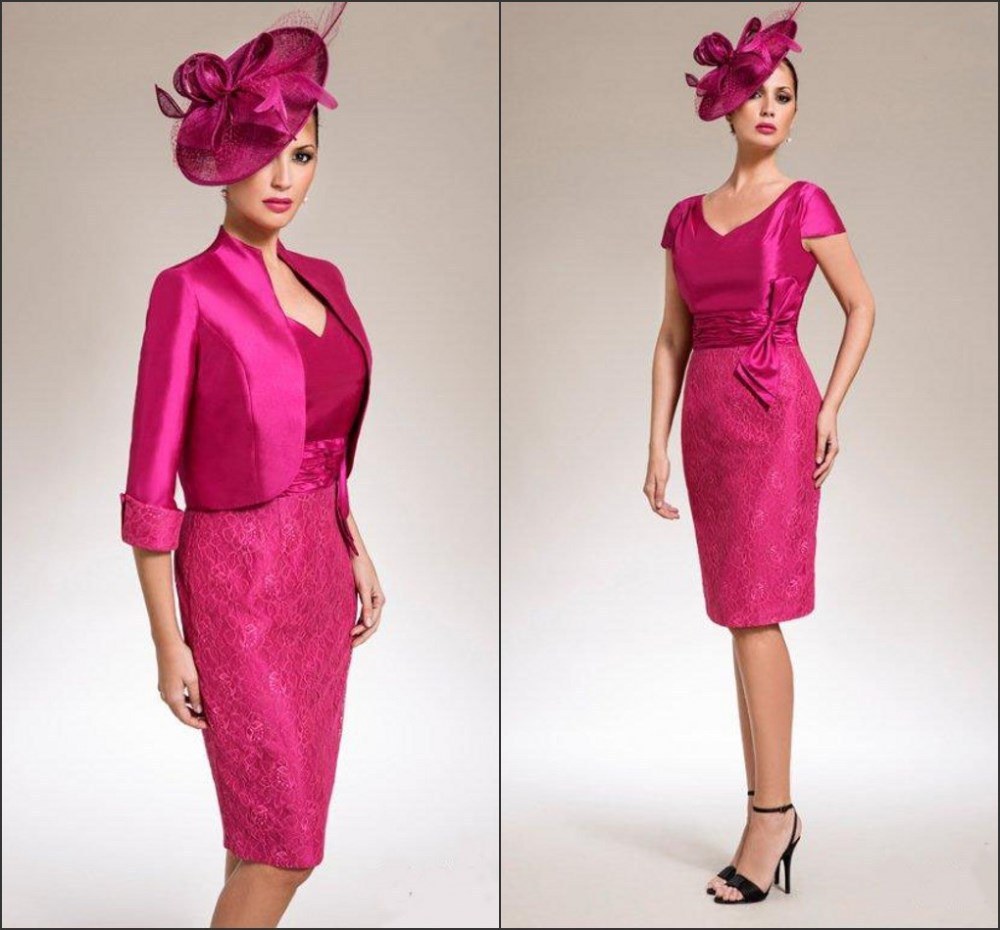 Fuchsia 2019 Mother Of The Bride Dresses Sheath Knee Length With Jacket Lace Bow Groom Short Mother Dresses For Wedding