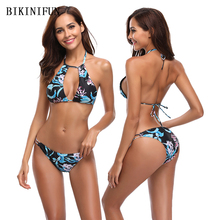 New Sexy Black Floral Print Bikini Women Swimsuit Backless Halter Bathing Suit S-XL Girl Thong Bikini Low Waist Micro Bikini Set