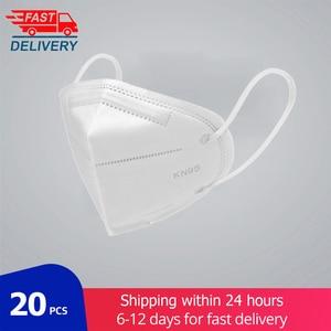 20 pçs ffp2 kn95 máscara facial 5 camada boca kn95mask anti máscaras de poeira à prova de poeira anti-nevoeiro máscara de filtro de proteção transporte rápido