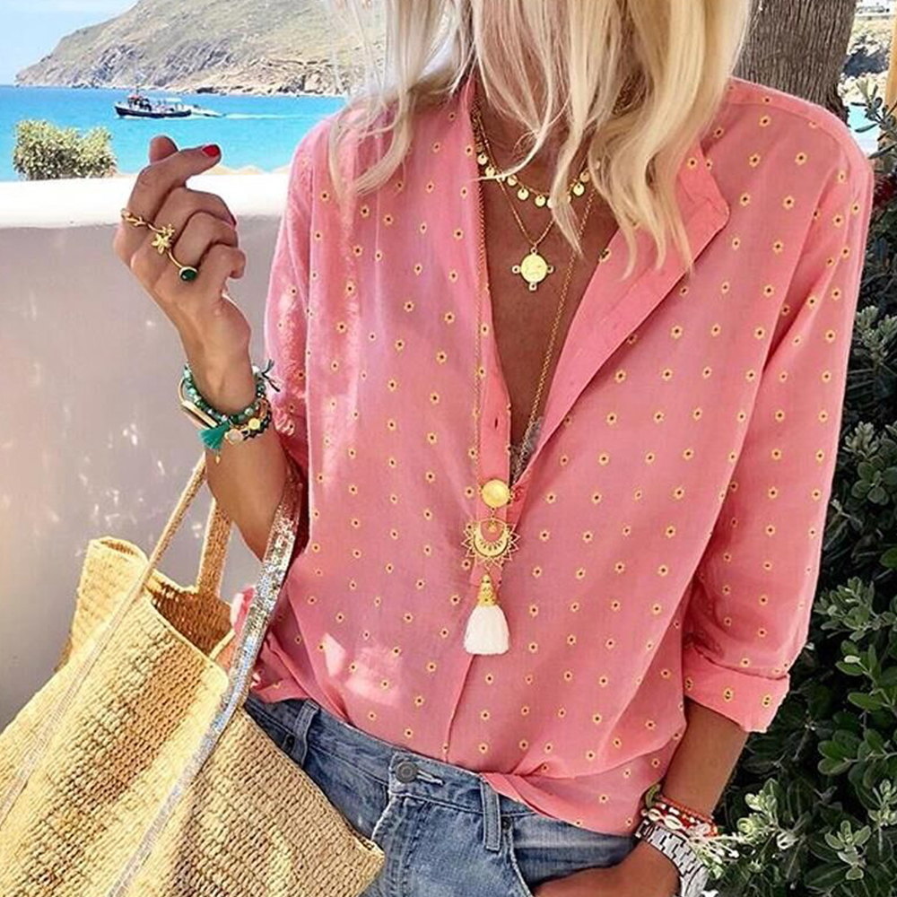 Casual Blusa Feminina Autumn Long Sleeve Blouse Polka Dot Top Fashion Pink Blouses 2019 Elegant Womens Tops and Blouse D30