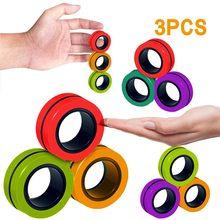 Bracelet magnétique avec anneau de décompression, anneau rotatif, jouet de décompression pour enfants et adultes, nouveauté 2020