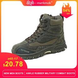 Merkmak novos homens botas de borracha tornozelo botas de combate militar homens tênis casuais botas de segurança trabalho ao ar livre