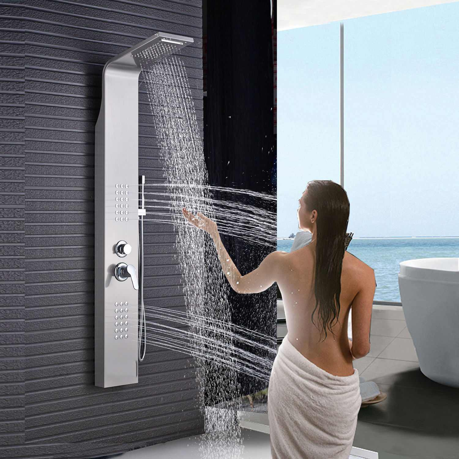 Thermostaic Shower Panel Tower Rain/&Waterfall Massage Body System Brushed Nickel