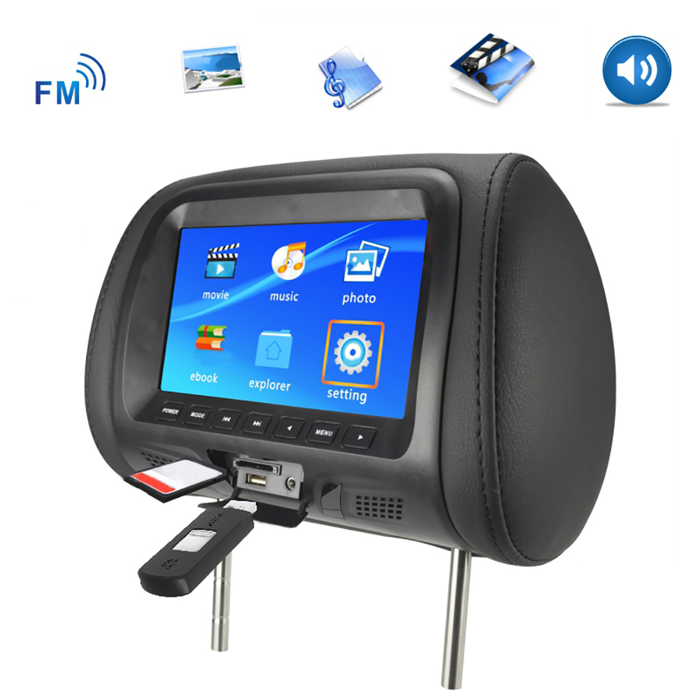 Universal 7 Inch Car Headrest Monitor Rear Seat Entertainment Multimedia MP3/MP4/FM/Video/Muisc/TF Card Player New hot boutique 2
